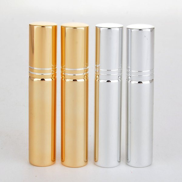 10ML Refill Bottle Mini Portable Perfume Atomizer Spray Bottles Empty Bottles Cosmetic Containers Black Gold Silver Color