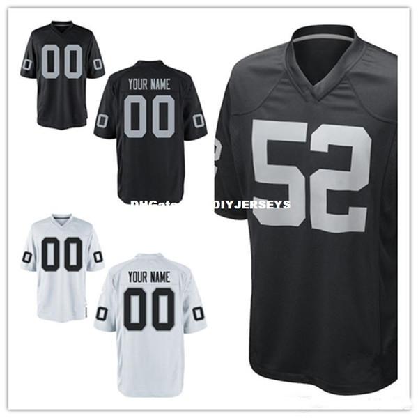 Mens womens gençlik çocuklar Özel Oakland futbol Forması Beyaz Siyah renk Oakland Özelleştirilmiş Jersey S-3XL