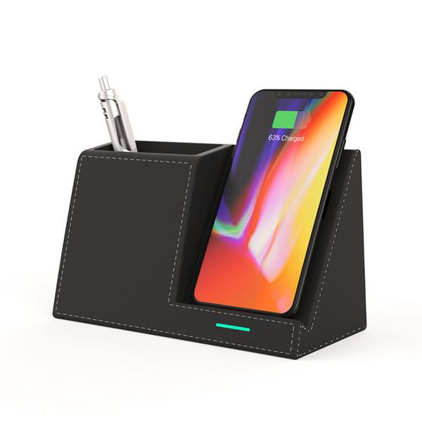 10W Qi Wireless Charger Desk Pen Organizer Holder Stand 10W Fast Charging StatPhone XS Max XR X 8 Samsung S9 S10 plus