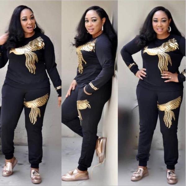 Kadınlar Için afrika Setleri Yeni Boncuk Payetli Afrika Elastik Bazin Baggy Pantolon Kaya Stil Dashiki Kollu Lady Için Ünlü Suit