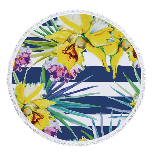 Personnaliser Plante de Plage Ronde Mandala Polyester Plantes Imprimé Fleur Pompon Été Mince Serviette de Bain Robe Bikini Couverture Nappe Cover-up