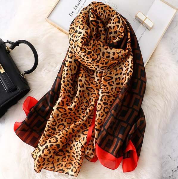 Fashion leopard print silk Scarf women Spring Summer Plus Size Female shawl women long head Scarves Wraps High quality pashmina