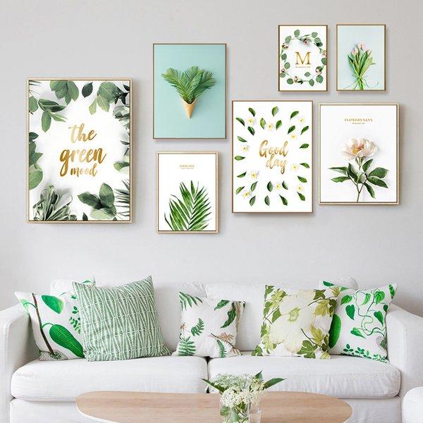 Acuarela moderna Carteles de hojas tropicales Lienzo Floral Planta verde Impresiones artísticas Sala de estar Cocina Pared Fotos Pinturas Decoración del hogar Sin marco 15