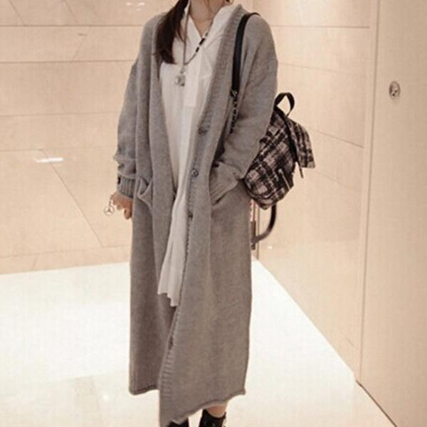 2019 New Spring and autumn outfit new Korean version of the ultra-long, thick oversized loose sweater coat women cardigan sweater