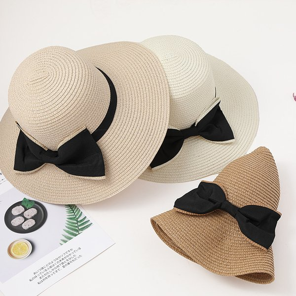 Female spring and summer outdoor holiday vacation sun shade straw hat bow folding beach Korean version of the big edge hat