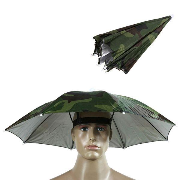 52/65 CM Angeln Kappe Outdoor Sport Regenschirm Hut Wandern Camping Headwear Cap Kopf Hüte Camouflage Faltbare Sonnencreme Schatten Regenschirm Hut