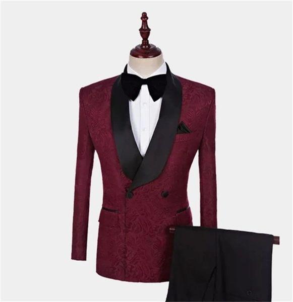 2020 burgund herren anzüge slim fit zwei stücke strand groomsmen hochzeit smoking für männer schwarz schal revers formale prom anzug (jacke + pants)