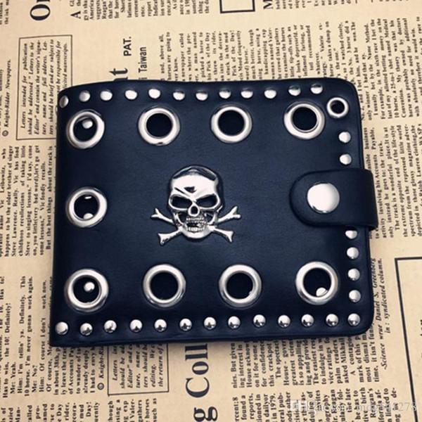 Vintage Men Rivets Short Purse Boys Goth Skull Head Black PU Leather Wallets Biker Punk Snap Hasp Zipper Wallet with Long Chain