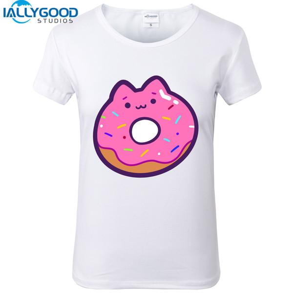 T-shirt femme 2017 nouvelle arrivée été chat mignon beignet t-shirts Drôle burger frites série de laits de lait impression de bande dessinée tops femmes blanc t-shirts S787