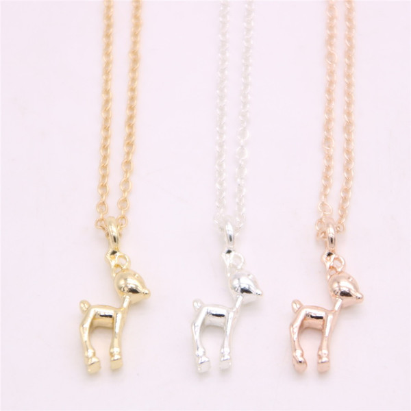 Lovely three-dimensional graphics pendant necklace Solid cute deer pendant necklace designed for women and
