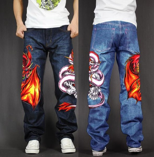 sale usa online 100% authentic latest discount 2019 Men'S Long Pants Baggy Loose Fit Jeans Rap Hip Hop Skate Denim Print  Trousers Straight Stretch Casual Trousers Drgon Snake From Qualityclothes,  ...