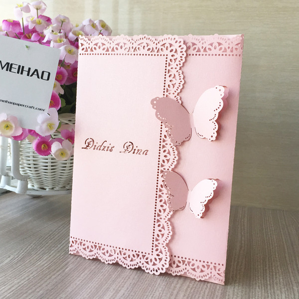 Pink Elegant Lace Flower 3d Butterfly Laser Cut Pearl Paper Wedding Invitation Birthday Party Dinner Decoration Chirstmas Pocket Card Love Birthday