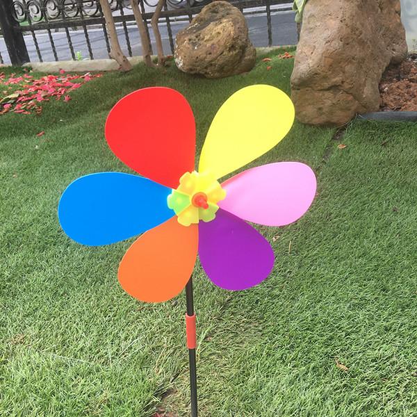 Creative colourful six-leaf windmill Waterproof windmill toy scenic decorative windmill Square outdoor seaside children's toys