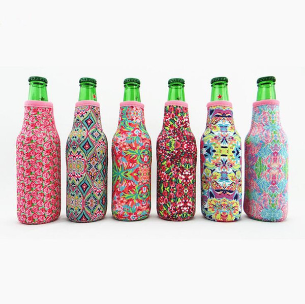 Lilly Bottle Wrap Neoprene Beer Cooler Baseball Jewel Coral Rose Mucho Printing Can Cover Kitchen Tools CCA11415 100pcs