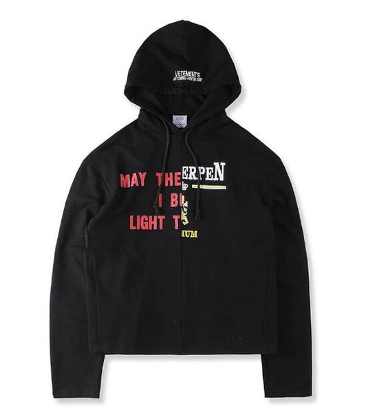 2019 novo Hip hop Tide Melhor versão kanye west Vetements oversize padrão Irregular costura Design Ambos os homens mulheres Hoodies Moletons Casacos