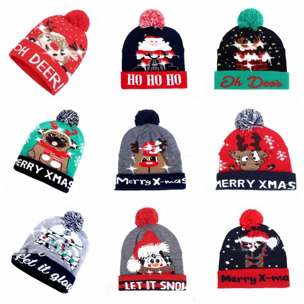 LED Санта шляпы Свет Рождества Pom Pom Череп шапки Снежинка Вязаные шапочки для взрослых Xmas Вязаные шапки Вязаные огни Болл Cap Головные уборы D6881