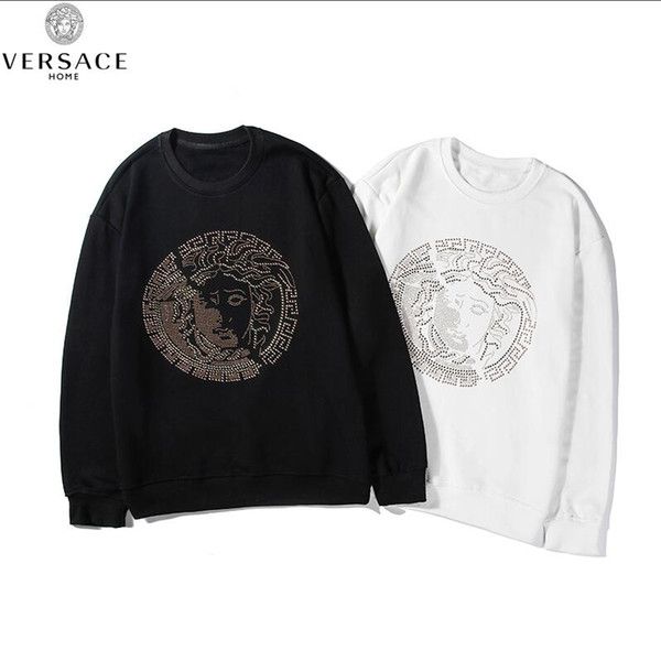 Yeni Tasarım Lüks VERSACEEurope paris Kapüşonlular 025 Fransa Moda Siyah Felpa sweatshirt büyük beyaz bant erkeklerin kadınlara eşofman işlemeli