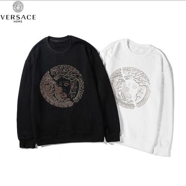 Novo Design VERSACEEurope luxo paris moleton França Moda Preto felpa moletom grandes mulheres homens brancos banda Hoodies 025