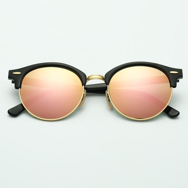 lentilles de miroir de cadre rose noir