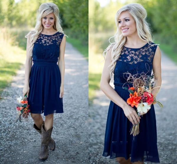 2019 rendas chiffon western country estilo vestidos de dama de honra curto na altura do joelho azul marinho vestido de dama de honra júnior para vestidos do convidado do casamento