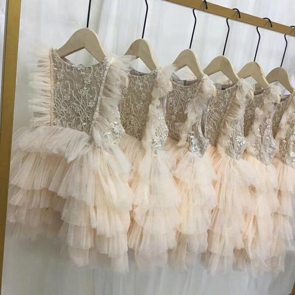 Haut de gamme bébé fille robe nouvelle broderie fleurs princesse infantile robes de soirée pour les filles d'été mode enfants dentelle robe bébé jupe