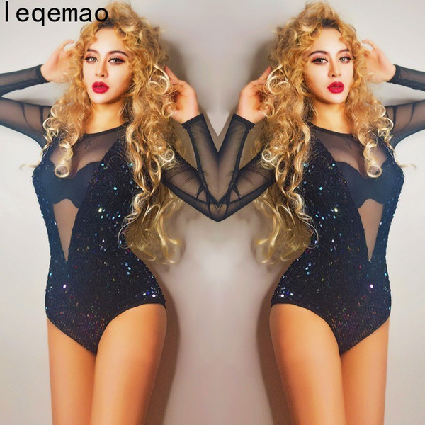 European Style Sexy Dance Costume Black Sequins Sexy V-collar Perspective Bodysuit Nightclub Singer Lead Dance Dj Ds Ballroom Stage Wear