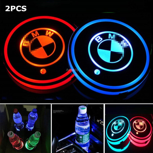 2PCS LED Car Cup Holder Pad Mat para Audi BMW Mercedes Benz Volkswagen Toyota Tesla JEEP CHEVROLET Ford car logo light Accesorios