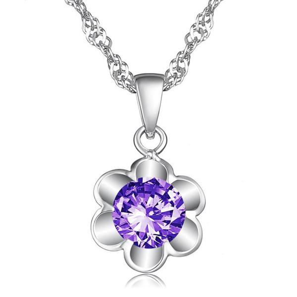 Neue versilberte Kristalle Blumen Anhänger Halskette weiblich zum Valentinstag Geschenk der Liebe für WomenPA-DX026.