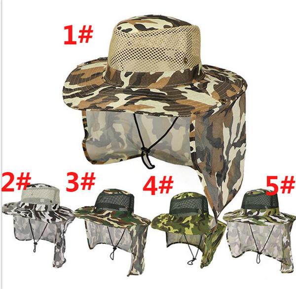 Açık Kamuflaj Kapaklar Spor Orman Askeri Kap Balıkçılık Güneş Ekran Gazlı Bez Şapka Kovboy Packable Ordu Kova Şapka dc317