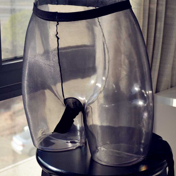 Collant pour hommes à l'huile glacée ultra fine ultra fine transparente 1D avec pénis tronc bas de gaine Nylons collants bonneterie Sissy Underwear