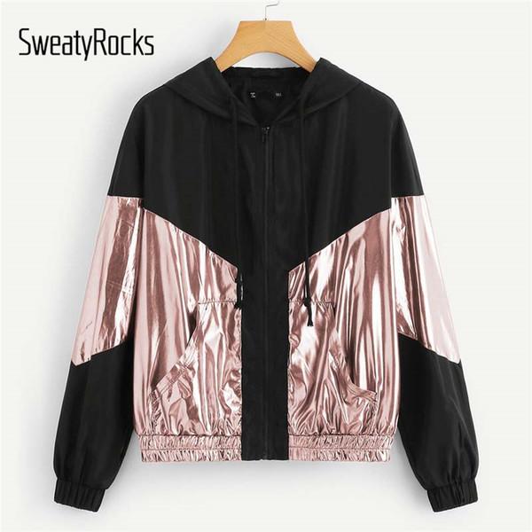 SweatyRocks Карман спереди Metallic Hoodie Jacket Colorblock Женщины с капюшоном Топы Весна Осень Zipper активный износ пальто и куртки Y190919