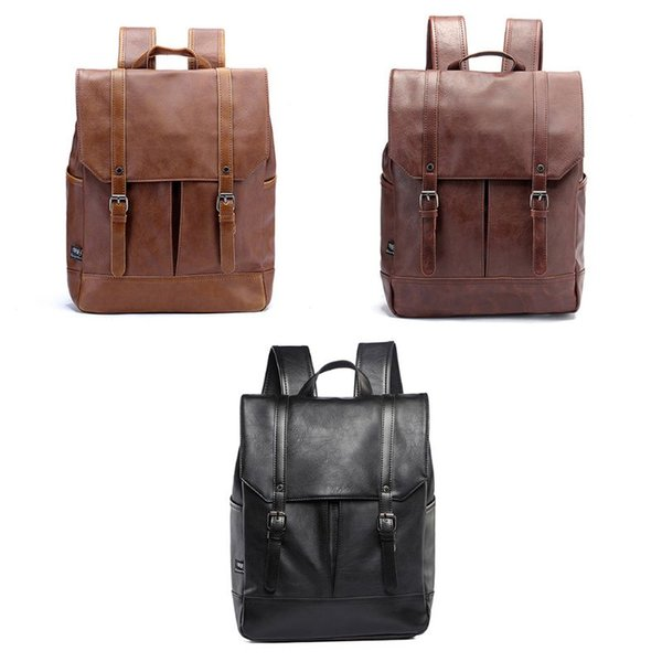 Vintage Unisex PU Leather School Student Laptop Casual Rucksack Backpack 14 inch For Running Camping Hiking