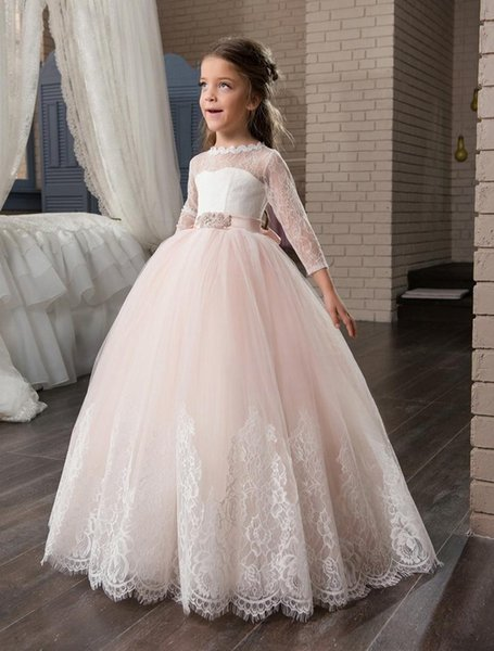 2020 Blush Flower Girl Dresses For Weddings Ball Gown 3/4 Sleeves Tulle Lace Bow Long First Communion Dresses Little Girl