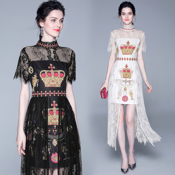top popular Luxury Fashion Women's Elegant See Through Patchwork Stand Collar Neck Party Dresses Top New Office Ladies Sexy Slim Lace Printed Dress 2021