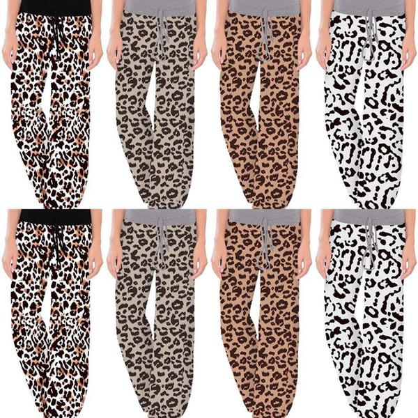 top popular Leopard Wide Leg Pants Comfy Stretch Women Long Pants Printed Drawstring Patchwork High Waist Pants LJJO7326 2020