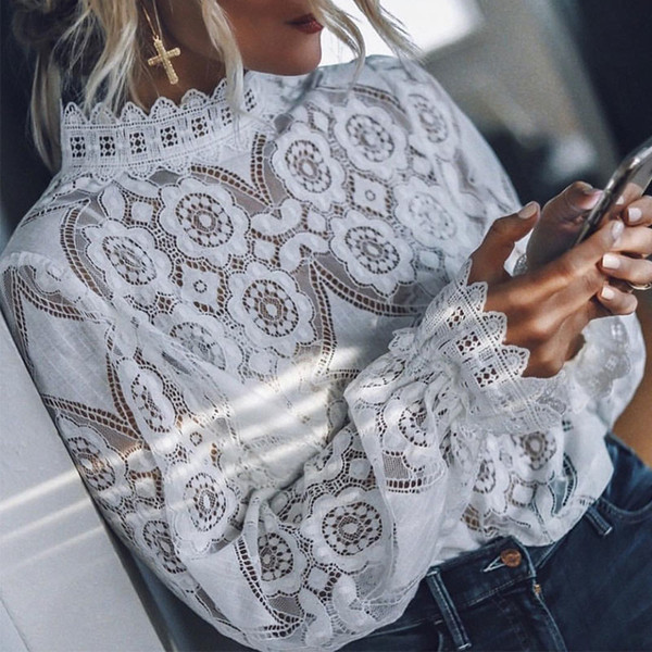 Lantern Sleeve Hollow Out Stand Collar Shirts White Lace Crochet Transparent Women's Blouse 2019 Summer Womens Blouses And Top SH190902