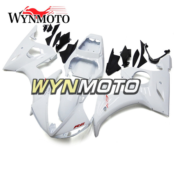 ABS Injection Plastic Complete Red Decal White Bodywork For Yamaha YZF-600 R6 Year 2003 2004 Full Plastic Cowling Kit Panels Covers R6 03 04