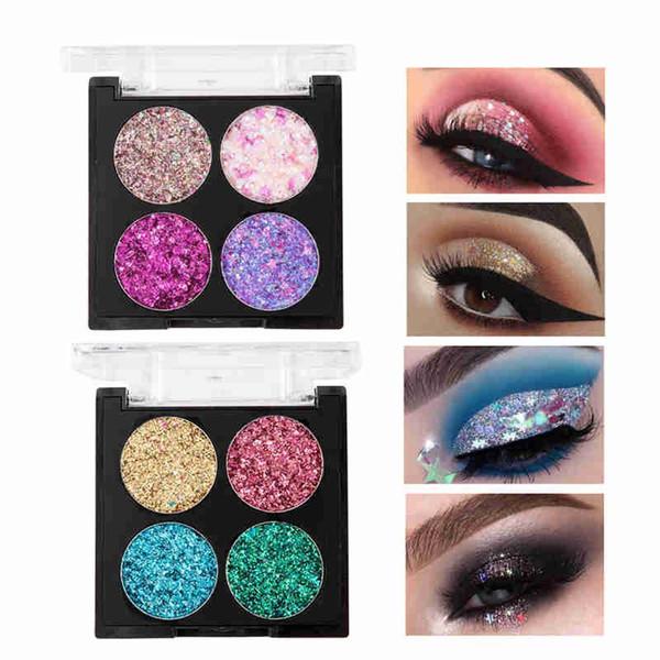 Handaiyan make-up 4 farben glitter lidschatten-palette wasserdicht mode lidschatten nude make-up set 2019 hot cosmetics tslm1
