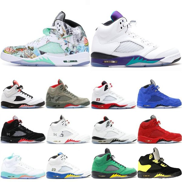 Wholesale New 5 5s Mens Basketball Shoes Wings Fresh Prince PSG Black White Camo Grey Laney Oreo Designer Shoe Sports Men Trainers Sneakers