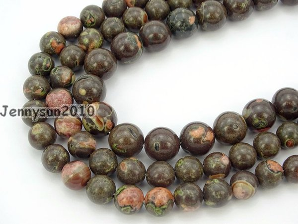 Natural Black Plum Flower Gems Stone Round Spacer Beads 15'' Strand 6mm 8mm 10mm for Jewelry Making Crafts 5 Strands/Pack