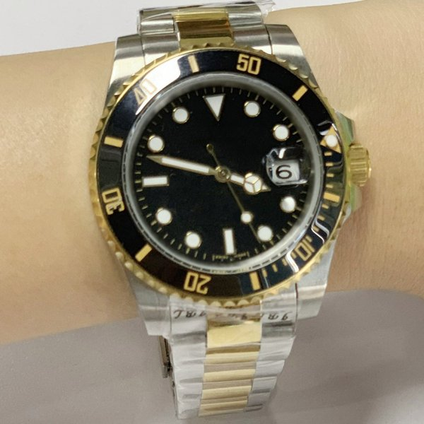 2019 New Sub 40mm Mens Automatic 116610 Black/Blue/Green Dail Watches 18k Gold Clasp Ceramic Bezel Stainless Steel Watches 8colors with date