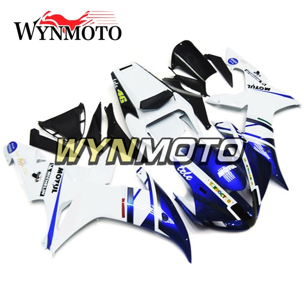 Full Fairings For Yamaha YZF1000 R1 2002 2003 02 03 ABS Plastics Injection White Blue Motorbike Panels YZF R1 02 03 Covers Body Frames Hulls