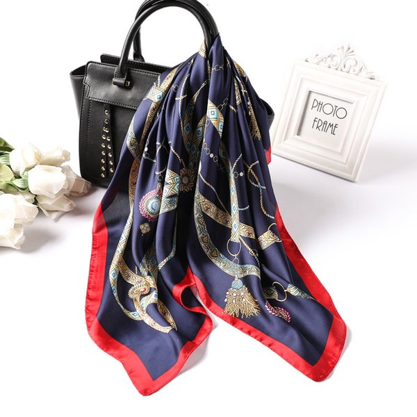 2019 New Spring Summer Silk Scarf Luxury Brand Printed Square Scarves For Women 70*70 Cm Hair Tie Band Office Lady Neckerchief