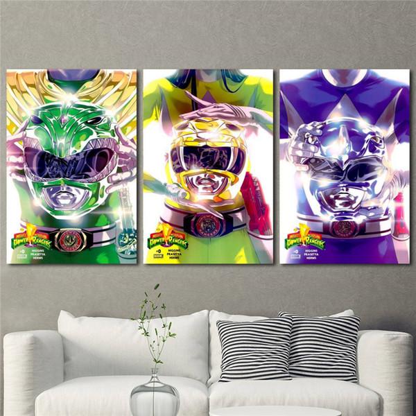 (Sem Moldura / Emoldurado) Máquina de Quadrinhos Power Rangers, 3 Peças Da Lona Cópias Da Arte Da Parede Pintura A Óleo Home Decor 16X24X3.