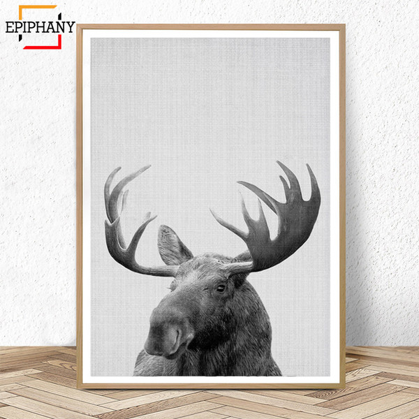 Moose Print Boys Room Decor Large Black and White Posters Forest Animal Canvas Painting Woodland Nursery Wild Animal Pictures