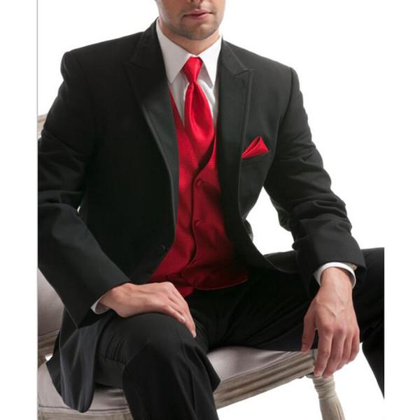 Mariage noir classique Groomsmen Smokings rouge Gilet Peaked Lapel Costumes Custom Made Soirée Hommes (veste + Gilet + Pantalon)