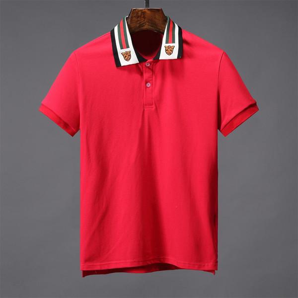 Pamuk yüksek dereceli erkek Polo gömlek pamuk yeni tasarımcı erkek T-shirt retro erkek Polo gömlek kısa kollu T-shirt M77