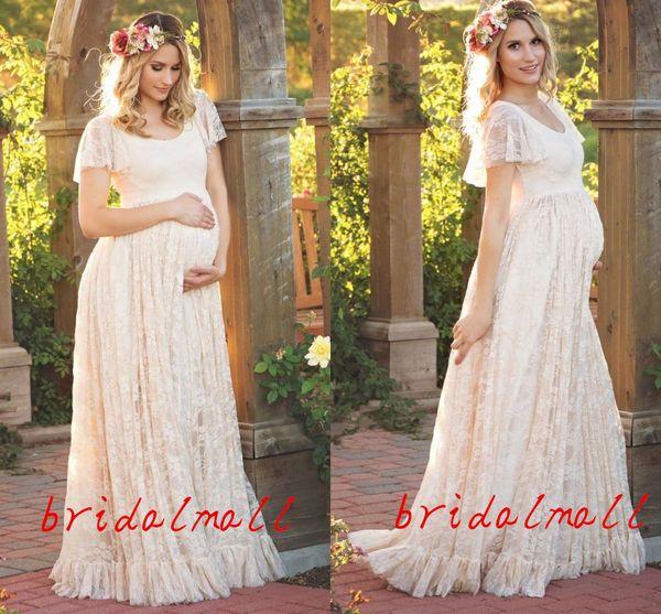 Scoop Neck Ivory Lace Boho Garden Wedding Dresses 2019 Vintage Maternity Pregnant Dresses For Brides Country Bridal Gowns Robes de mariée