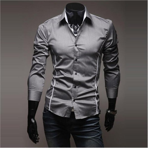 Fashion Mens designer Dress Shirt Luxury Stylish Casual shirt Solid long sleeve Muscle Fit Shirts Chemise Homme