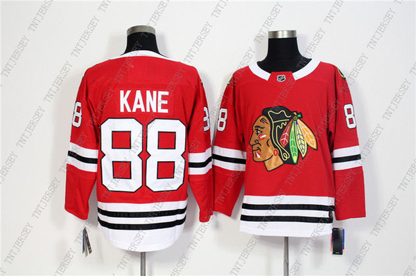 Barato Custom Men Chicago Blackhawks 88 Patrick Kane Red Home Hockey Jersey Personalidad costura personalizado cualquier nombre número XS-5XL